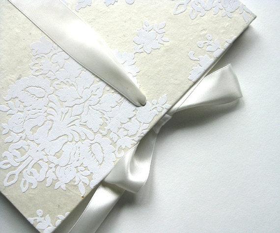 damask wedding guest book satin ribbon