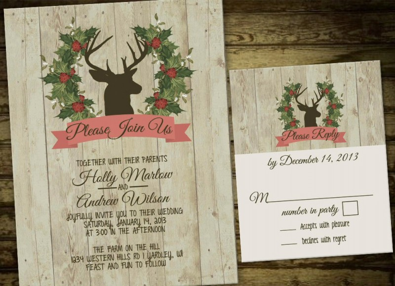 deer wreath winter wedding invitations