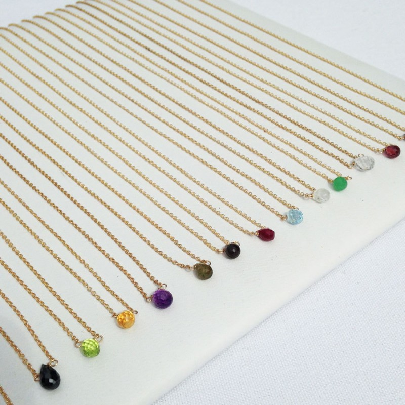 delicate birthstone necklace | birthstone jewelry gifts | https://emmalinebride.com/gifts/birthstone-jewelry-gifts/