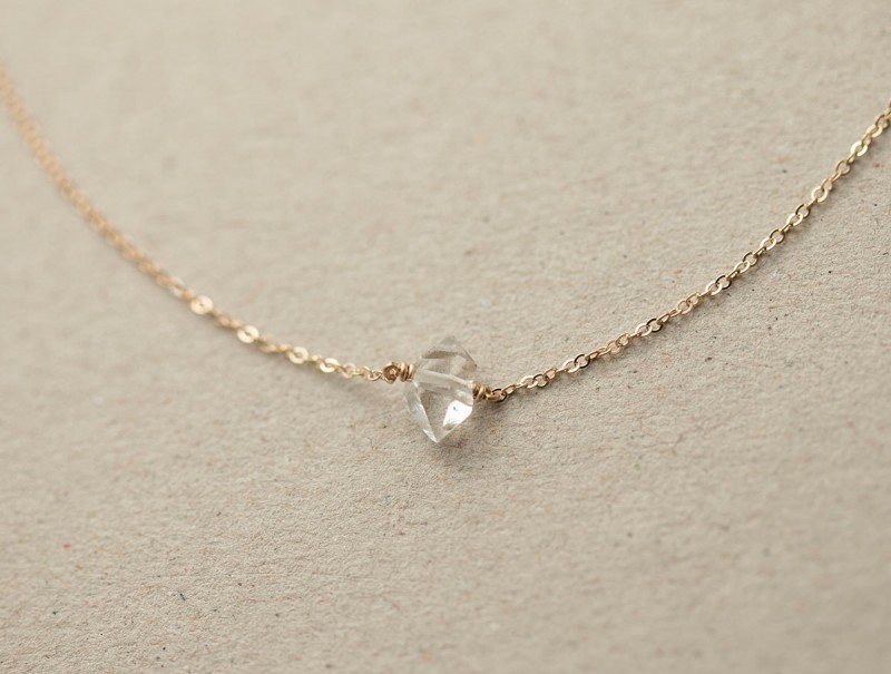 delicate herkimer diamond necklace by layered and long