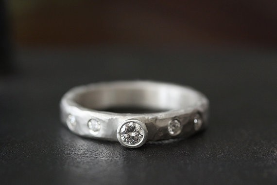 diamond set carved band | handmade wedding rings | http://emmalinebride.com/jewelry/handmade-wedding-bands/