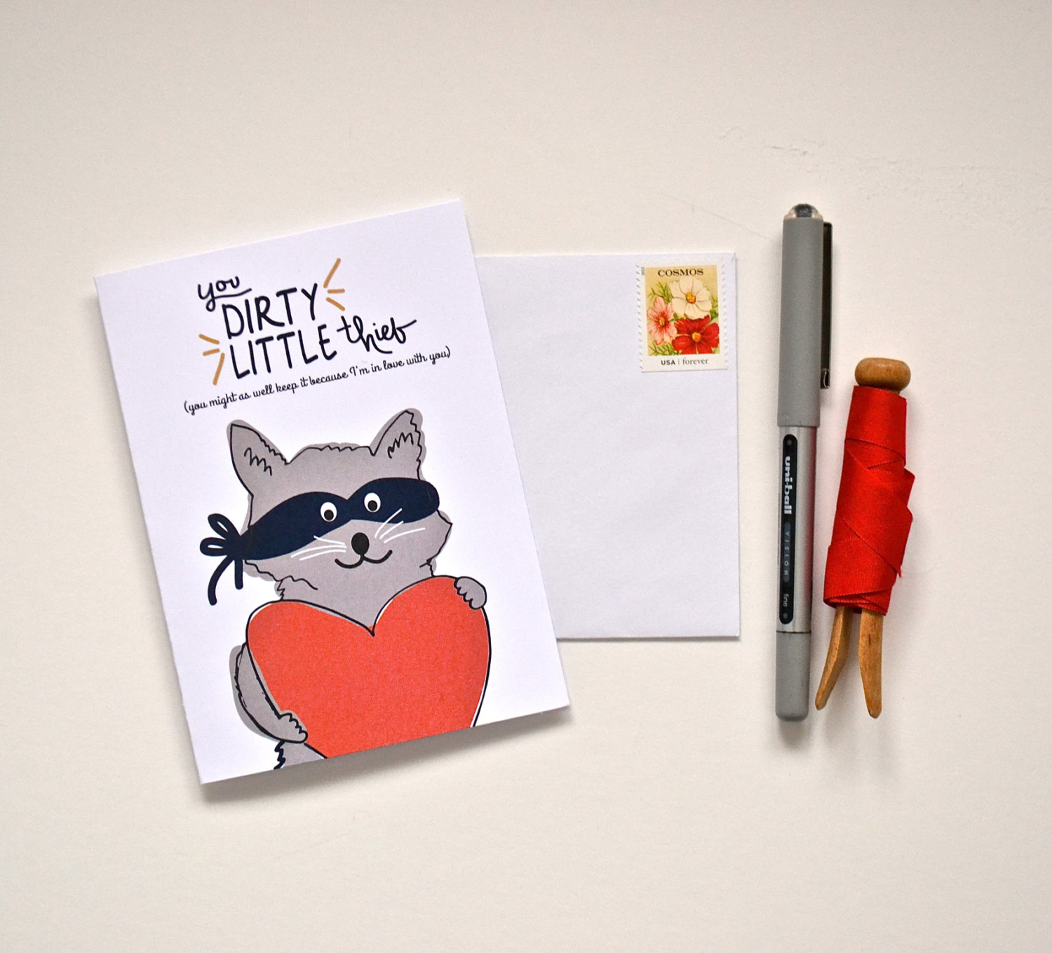 dirty little thief valentines day card - via funny valentine cards etsy from EmmalineBride.com