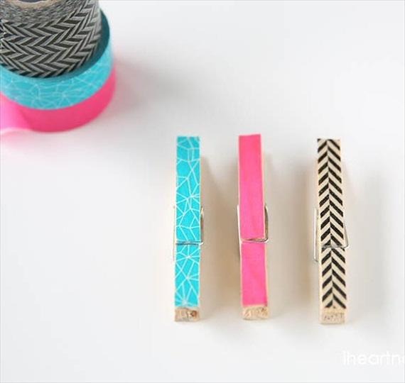 diy washi tape clothespins via DIY Washi Tape Ideas