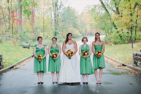 DIY Fall Wedding - Photo by Noelle Ann Photography - #green #bridesmaid #dresses #fall #wedding