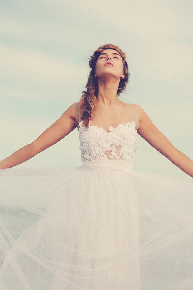 Sheer Neckline Wedding Dress | via https://emmalinebride.com/bride/sheer-neckline-wedding-dress/