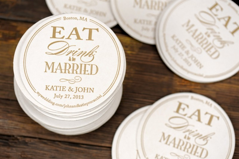 eat drink and be married coasters