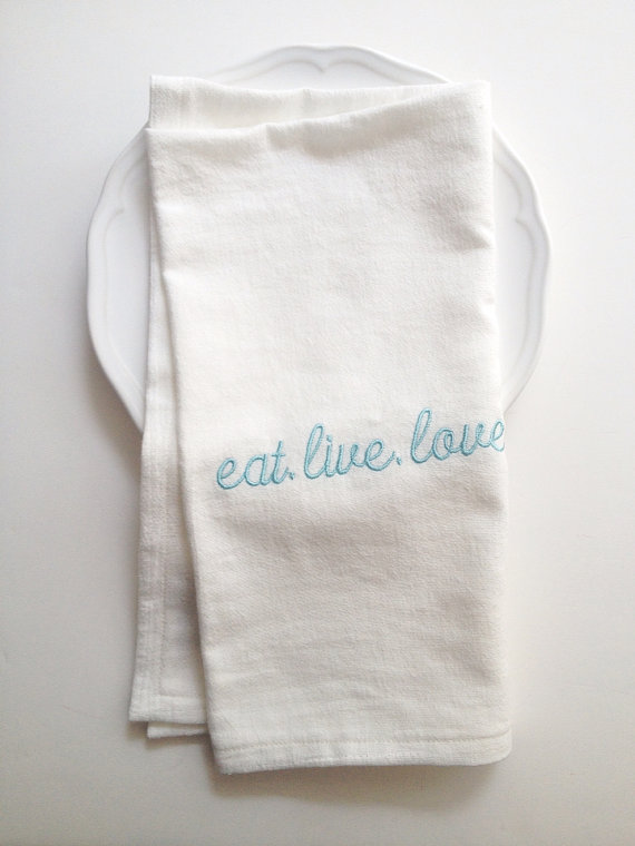 eat live love - tea towels for wedding showers