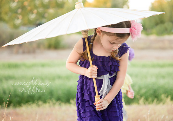 eggplant flower girl dress ruffles