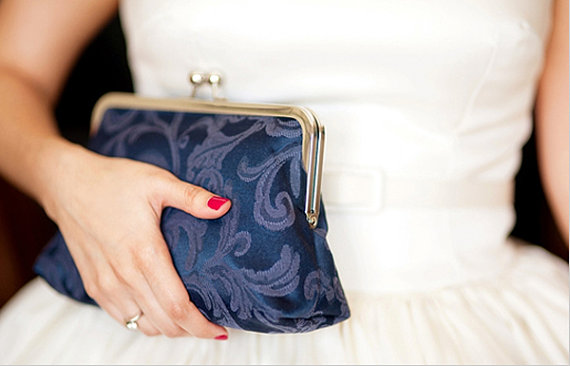 elegant navy blue exterior clutch