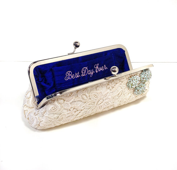 bridal clutch bags - ivory lace clutch with brooch detail, best day ever on liner