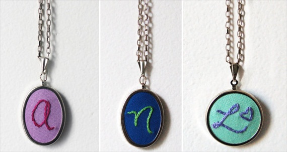 Give initial necklaces to your bridesmaids for a personalized, handmade gift.