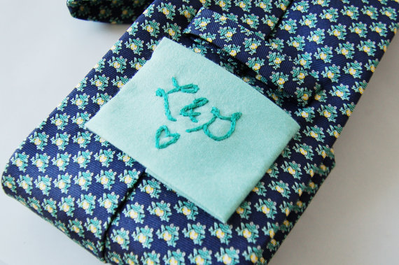embroidered wedding ideas - embroidered tie square (by the merriweather council)
