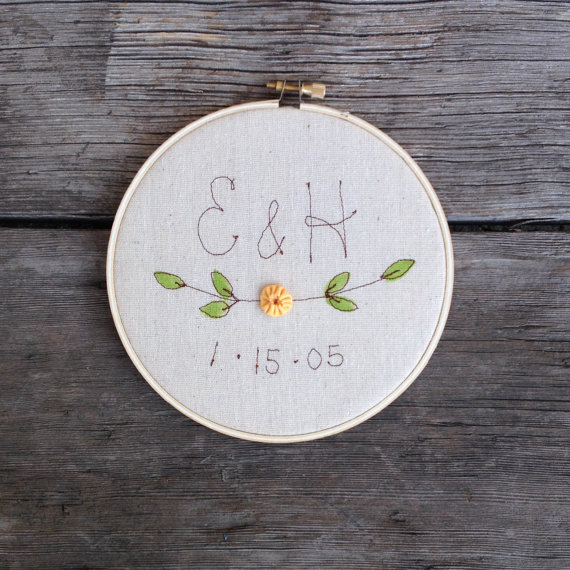 embroidery wedding hoop art