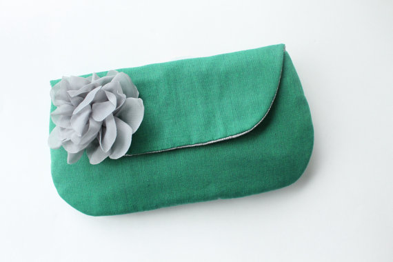wedding clutch purses - emerald and grey clutch purse (by allisa jacobs)