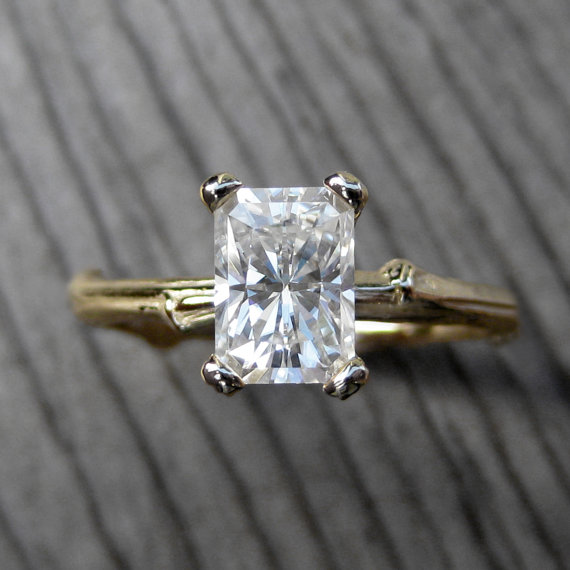 emerald cut moissanite twig engagement ring