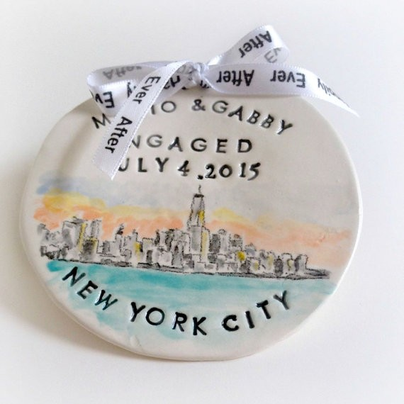 engaged ring dish ornament new york by magic markings art