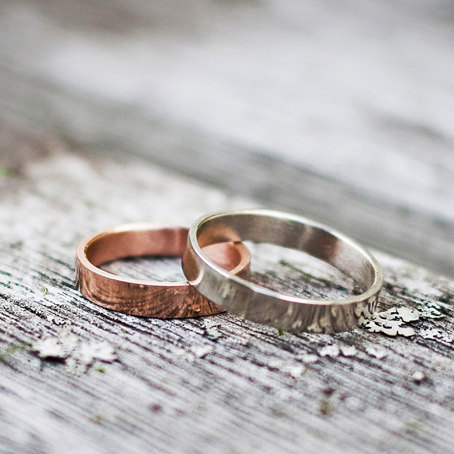 etched bands | handmade wedding rings | https://emmalinebride.com/jewelry/handmade-wedding-bands/