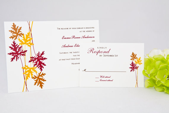 fall-leaf-wedding-invitations | via 7 Whimsical Fall Wedding Invitations
