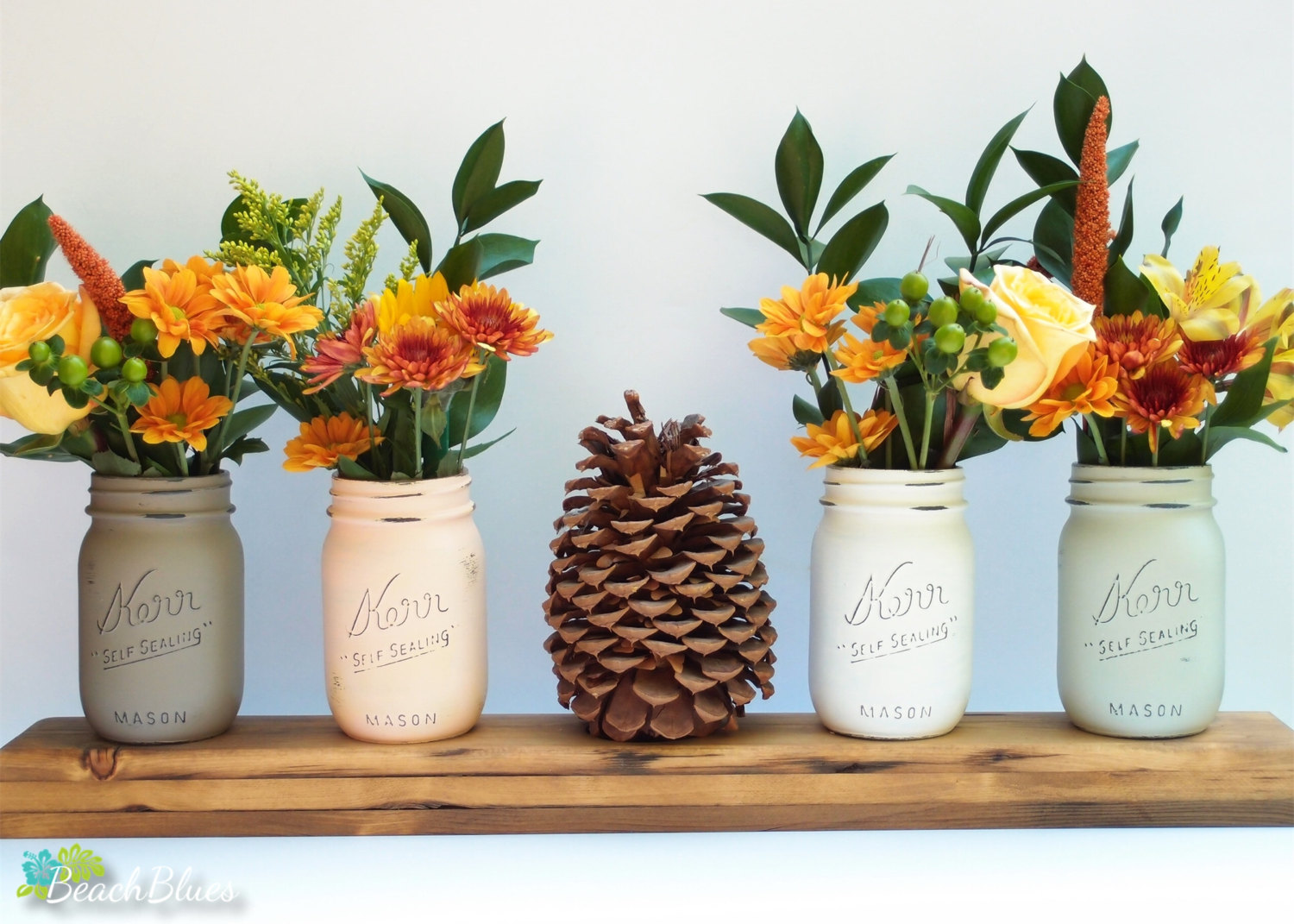 fall painted mason jars | mason jar ideas weddings