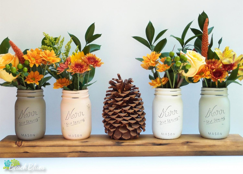 fall painted mason jars   mason jar ideas weddings