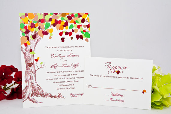 fall wedding invitation with carved initials in tree | via 7 Whimsical Fall Wedding Invitations