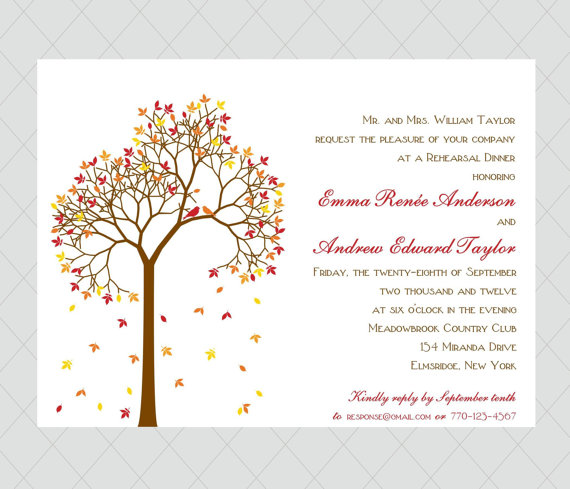 fall wedding invitations | via 7 Whimsical Fall Wedding Invitations