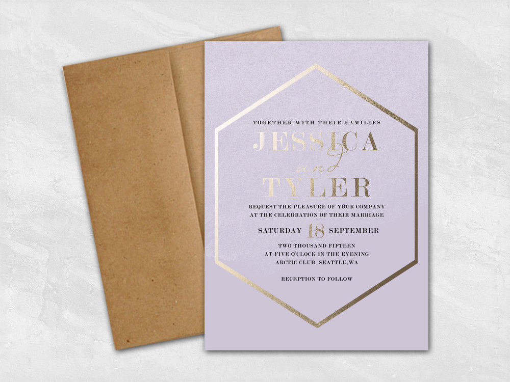 faux gold foil wedding invites pink via Email RSVP for Wedding Invitations
