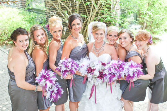 Feather Themed Wedding - feather bridesmaid bouquet by kristin danger designs