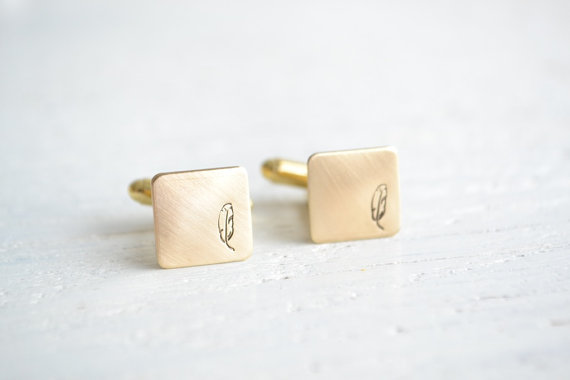 Feather Themed Wedding - feather cuff links by white truffle studio