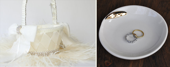 Feather Themed Wedding - ring dish by red raven studios, flower girl basket by the love story