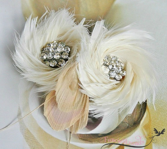 Feather Themed Wedding - feather hair accessory by fancie strands