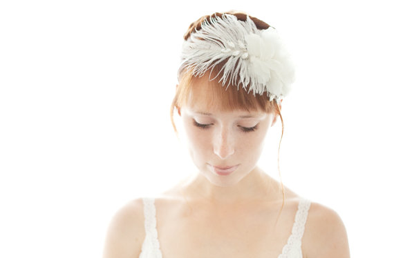 Feather Themed Wedding - feather headband by sibo designs