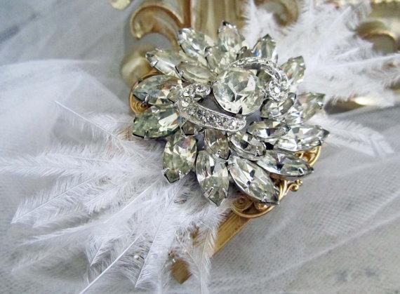 feather rhinestone bridal cuff bracelets