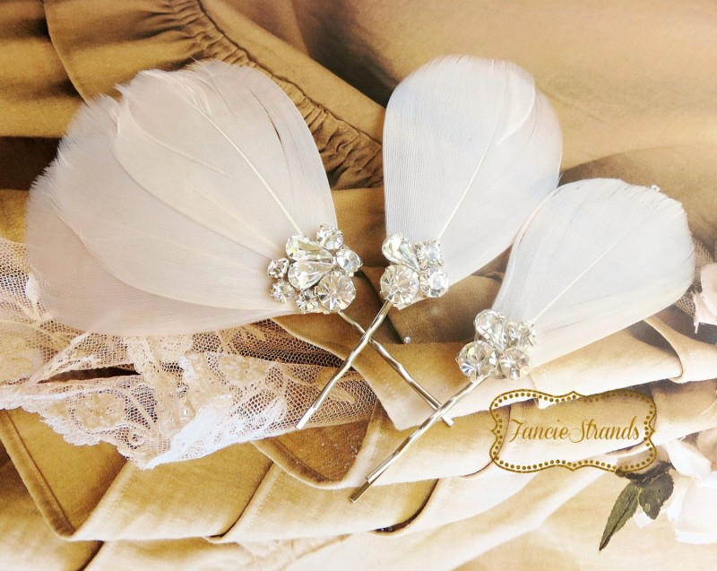Rhinestone Champagne Blush Wedding Hair Clips by Fanciestrands | via http://emmalinebride.com/bride/what-to-wear-instead-of-veil/ - What to Wear Instead of Veil