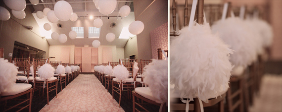 Feather Themed Wedding - aisle (photo by kristin vining)
