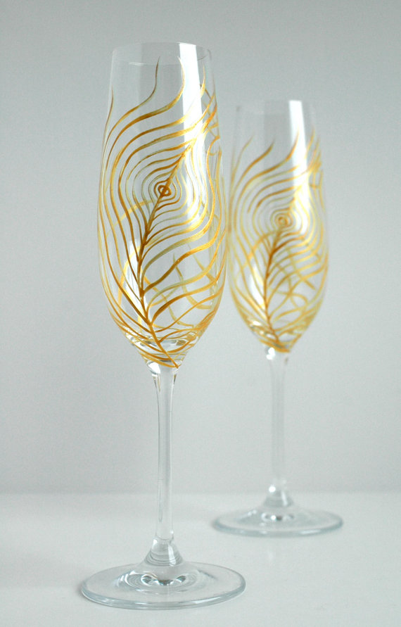 Feather Themed Wedding - flutes by mary elizabeth arts