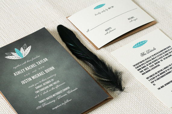Feather Themed Wedding - wedding invitations by craft pie press