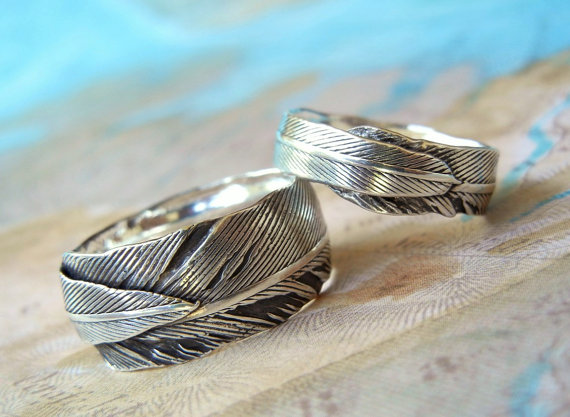 Feather Themed Wedding - feather rings by happy go licky