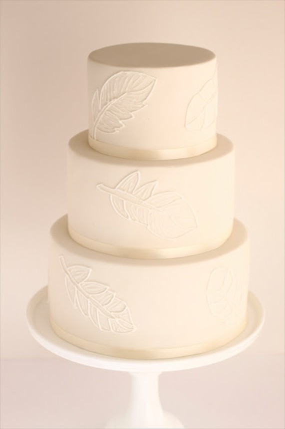 Feather Themed Wedding - feather wedding cake by hello naomi