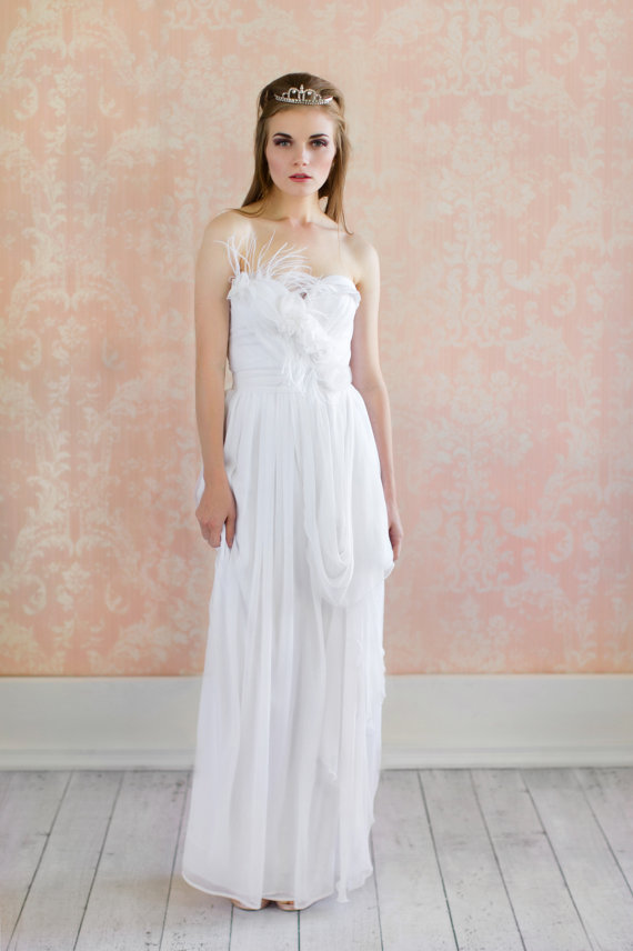 Feather Themed Wedding - feather wedding dress (by claire lafaye)