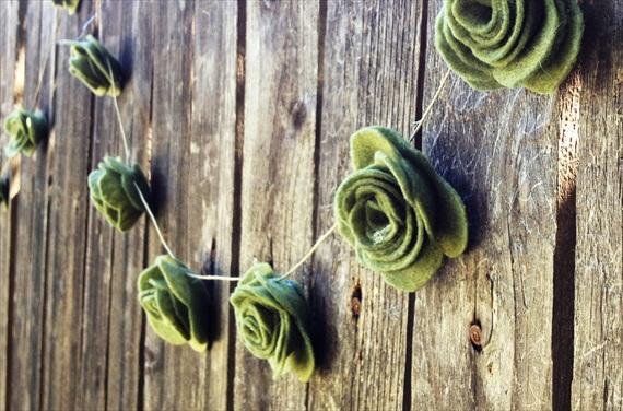 felt wedding rose flower banner