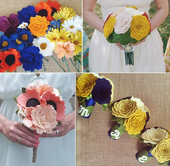 felt wedding flowers bouquets