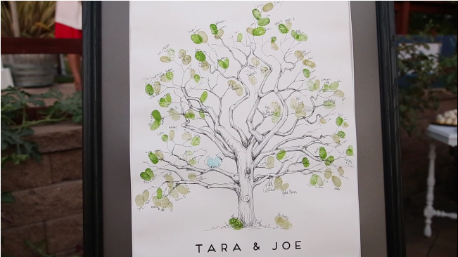 fingerprint tree guestbook for their wedding at Sova Gardens