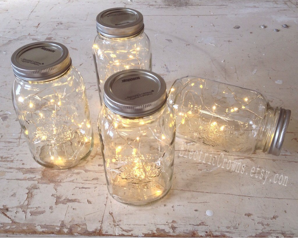 firefly fairy lights in mason jar   mason jar ideas weddings
