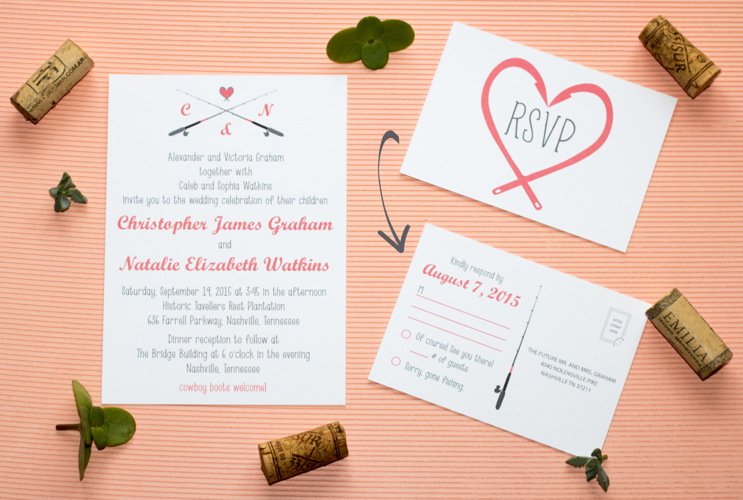 fishing wedding invitation by twine and true