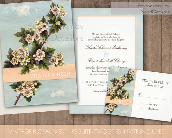 floral design printable wedding invitations