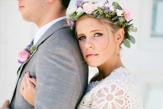 floral boho hair wreath via 9 Bohemian Wedding Ideas for your Free Spirited Side