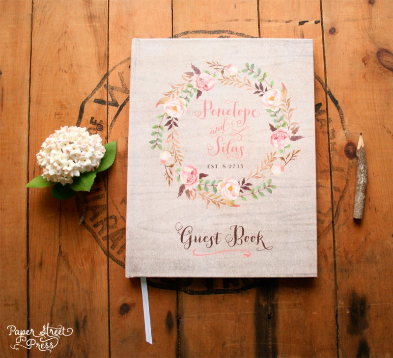 floral wreath guest book