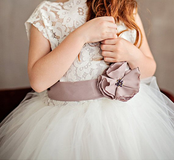 flower girl dress with light purple flower dress sash