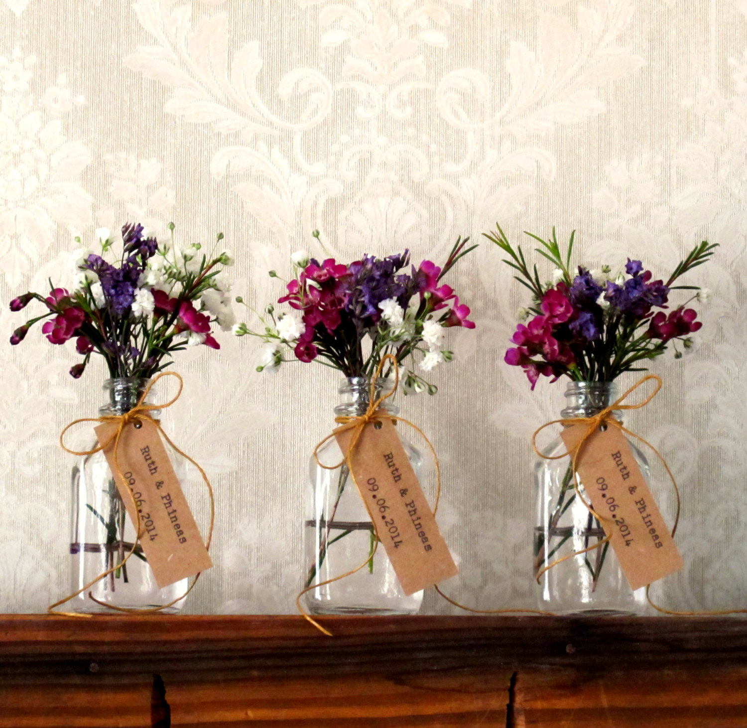 flower vase favors in jars